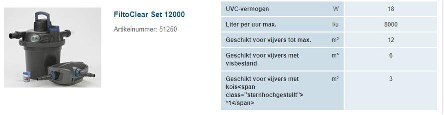 OASE FILTOCLEAR SET 12000 DRUKFILTER+UVC+POMP